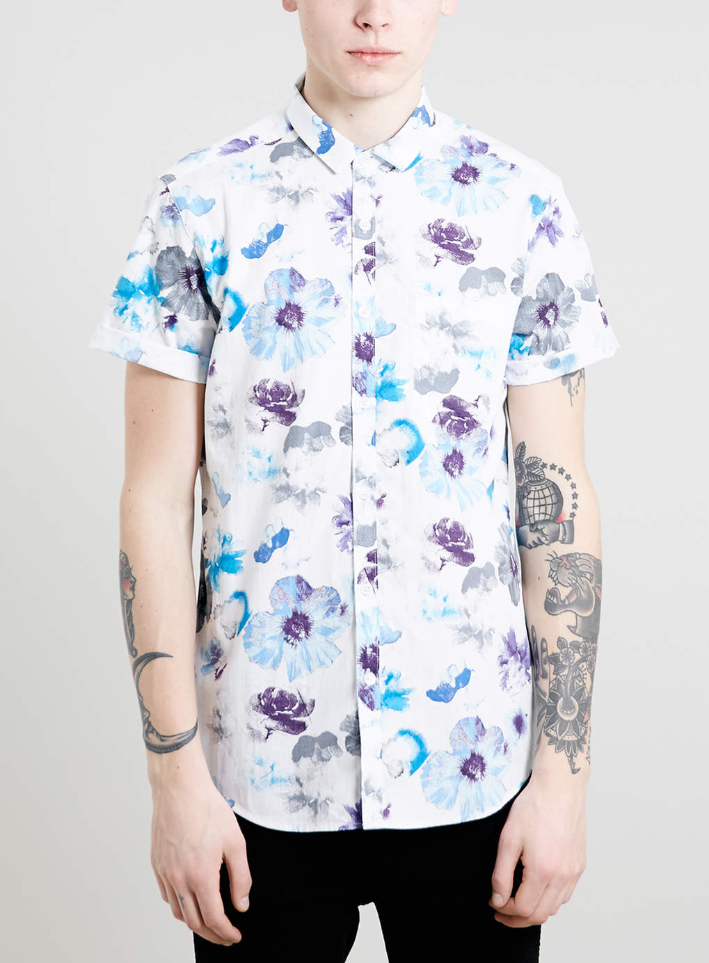 White Floral Print Short Sleeve Shirt, $55