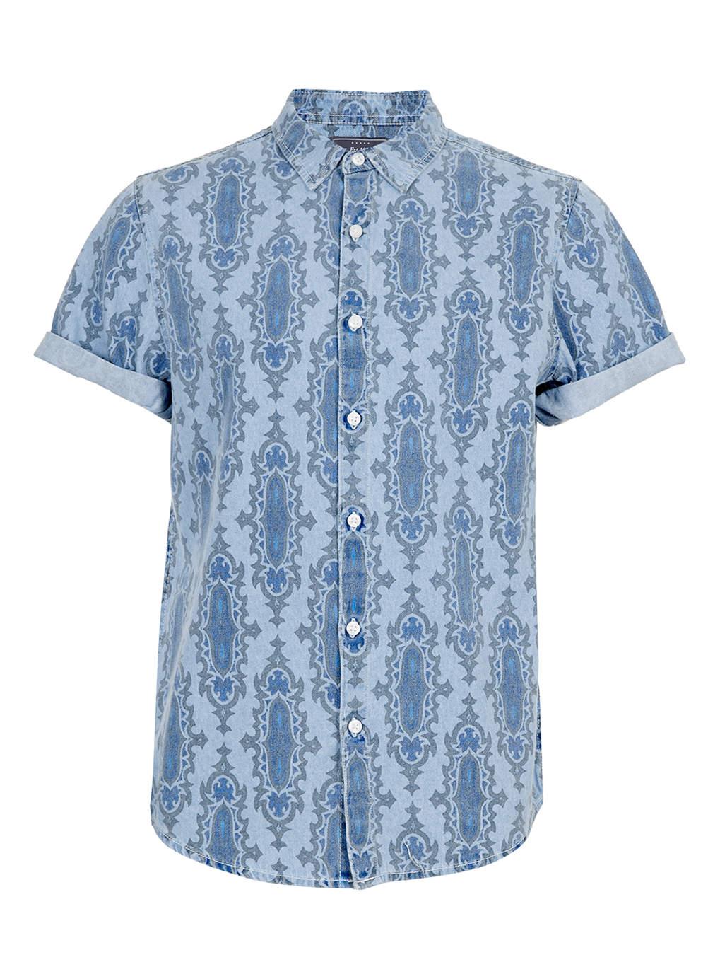 Blue Baroque Print Short Sleeve Shirt, $55