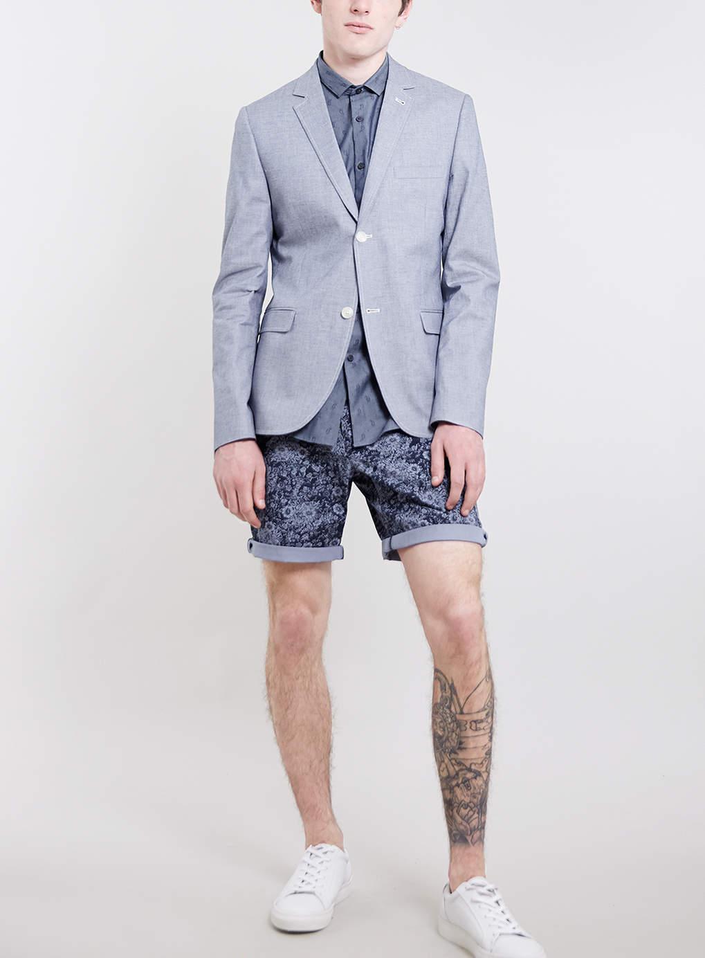 Indigo Oxford Skinny Fit Blazer, $120
