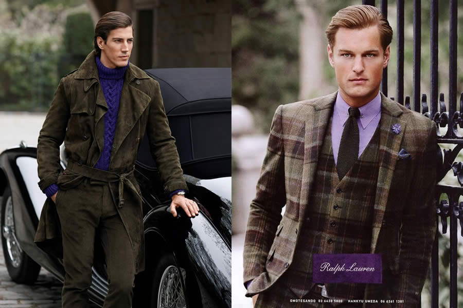 An advertisment for RalphLauren's Purple Label – which explores the nuances of the English Dandy look.