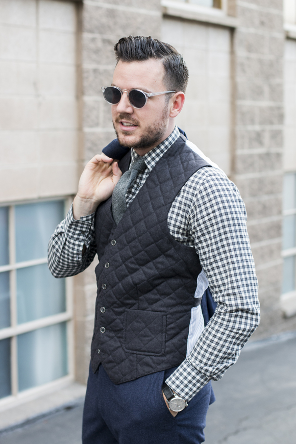 I've never seen a quilted semi-puff vest in this cut. The thought never occurred to me, but it looks great here. | From:  tsbmen.com