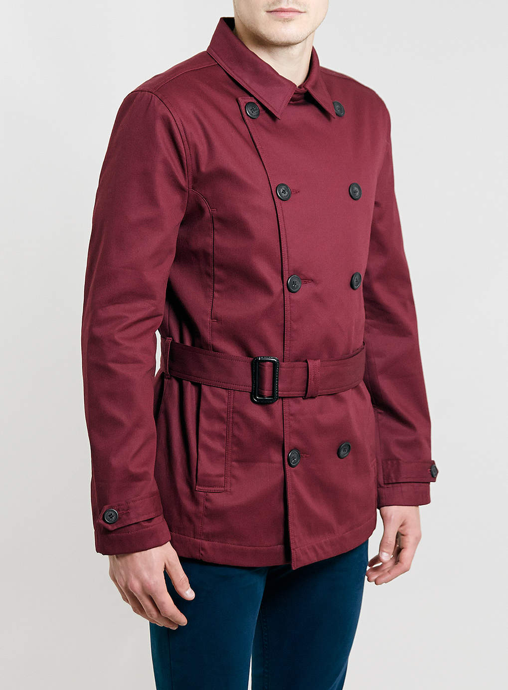 Burgundy Cropped Trench Coat, $140 at  Topman