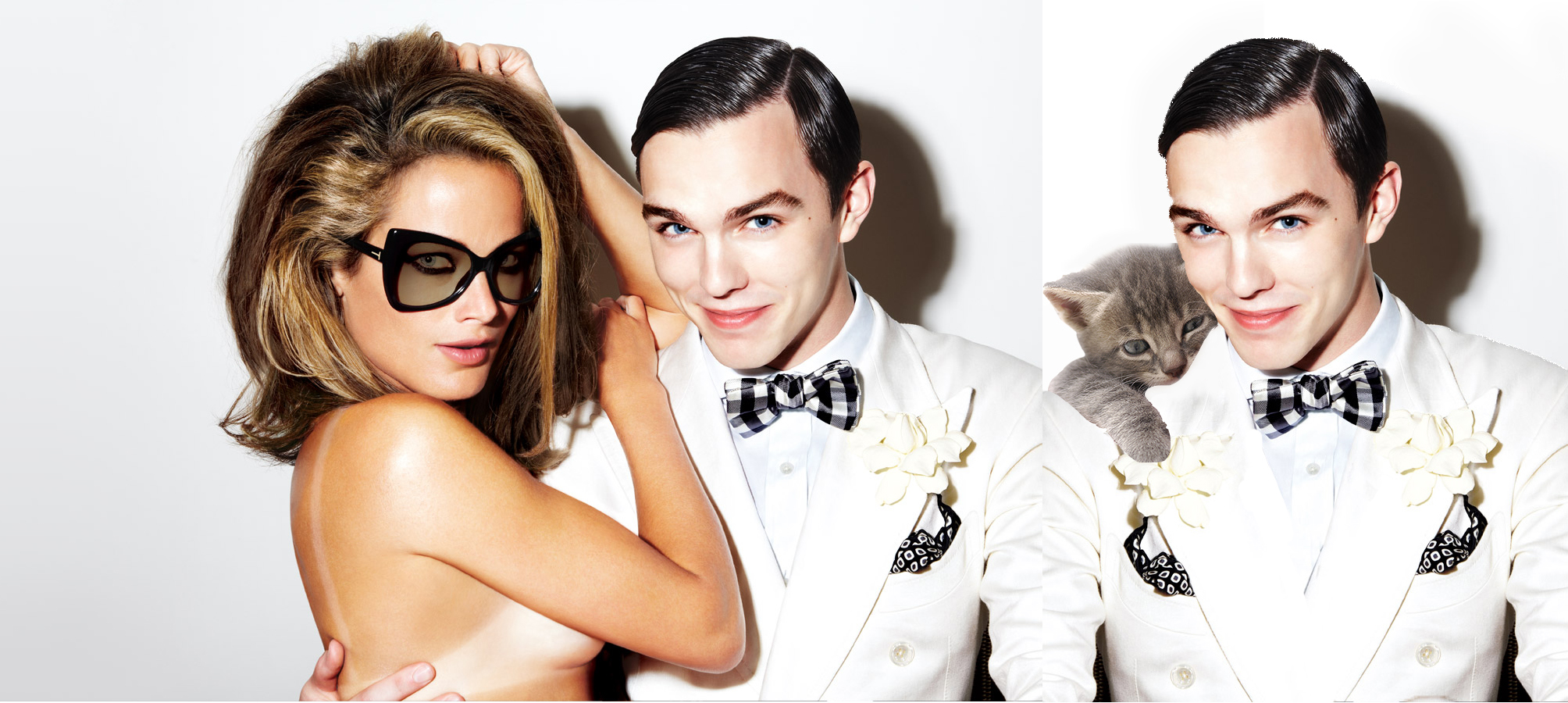 "What his grin is saying: (Left) ""I touch all kinds of ladies, ladies."" (Right) ""Weez cutes.""  Can I haz dat suit? Image from: Tom Ford"