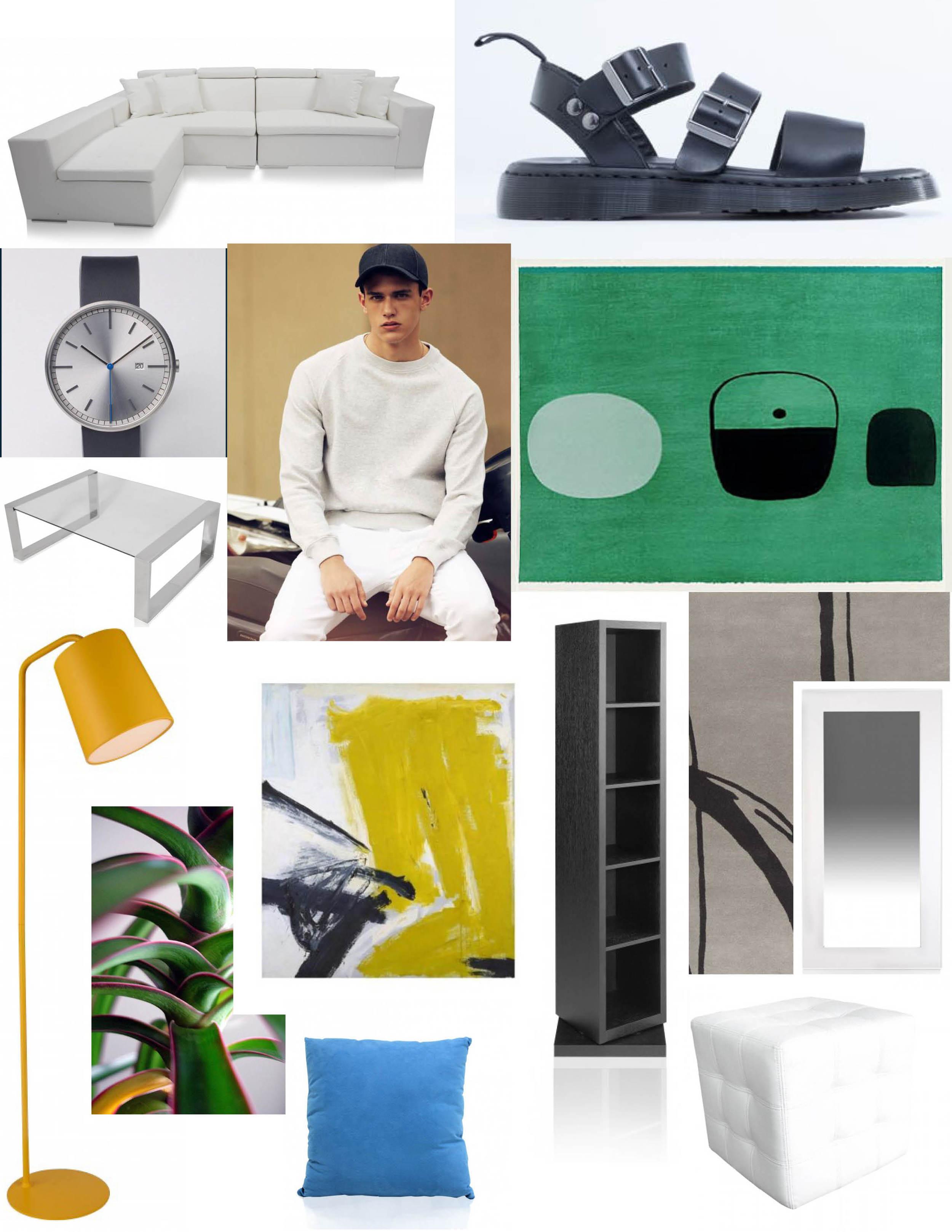 Couch: M  odani / Sandals: Dr Martens Gryphon Sandal / Plant:Red-Edged Dracaena plant/ Green painting: William Scott (1913 - 1989) / Coffee table:   M  odani / XavierSerrano /Rug: Surya Signature SIG-1002 Hand-Tufted, Good Quality Area Rug , RugStudio /  Yellow painting: Zinc Yellow, 1959. Franz Kline / Mirror: M  odani /Lamp: M  odani / Pillow: M  odani / Ottoman: M  odani