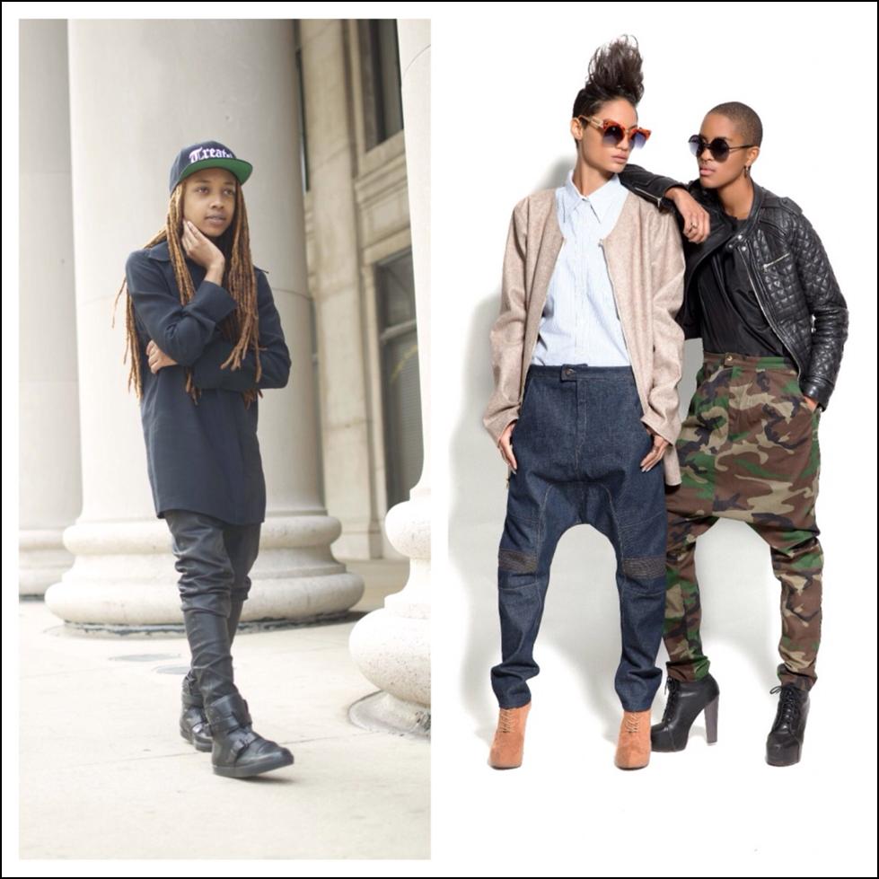 Designer Sheila Rashid (left) and models wearing her signature drop-crotch pants (right). Images courtesy Sheila Rashid.