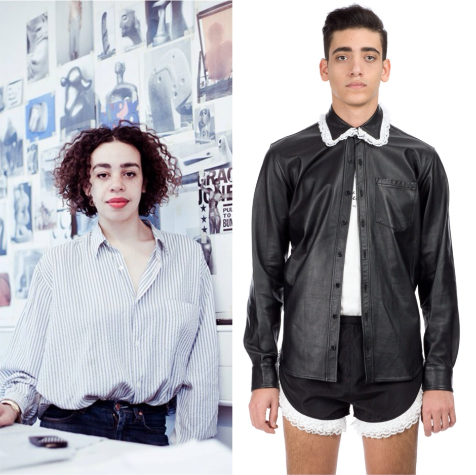 Martine Rose ( left ) and leather shirt from her collection at Opening Ceremony ( right )