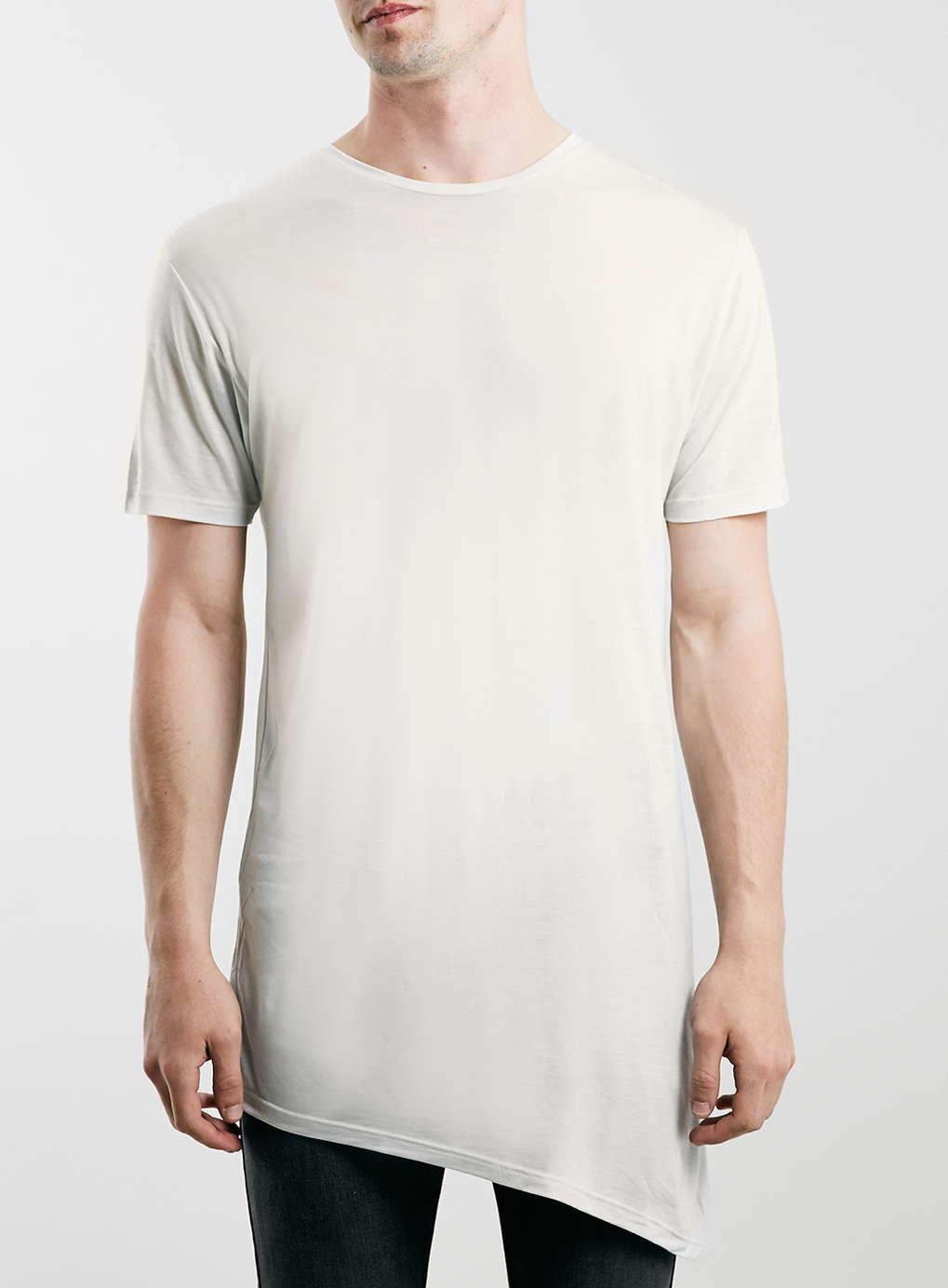 Topman Grey Asymmetric Longline T-Shirt,$25.00