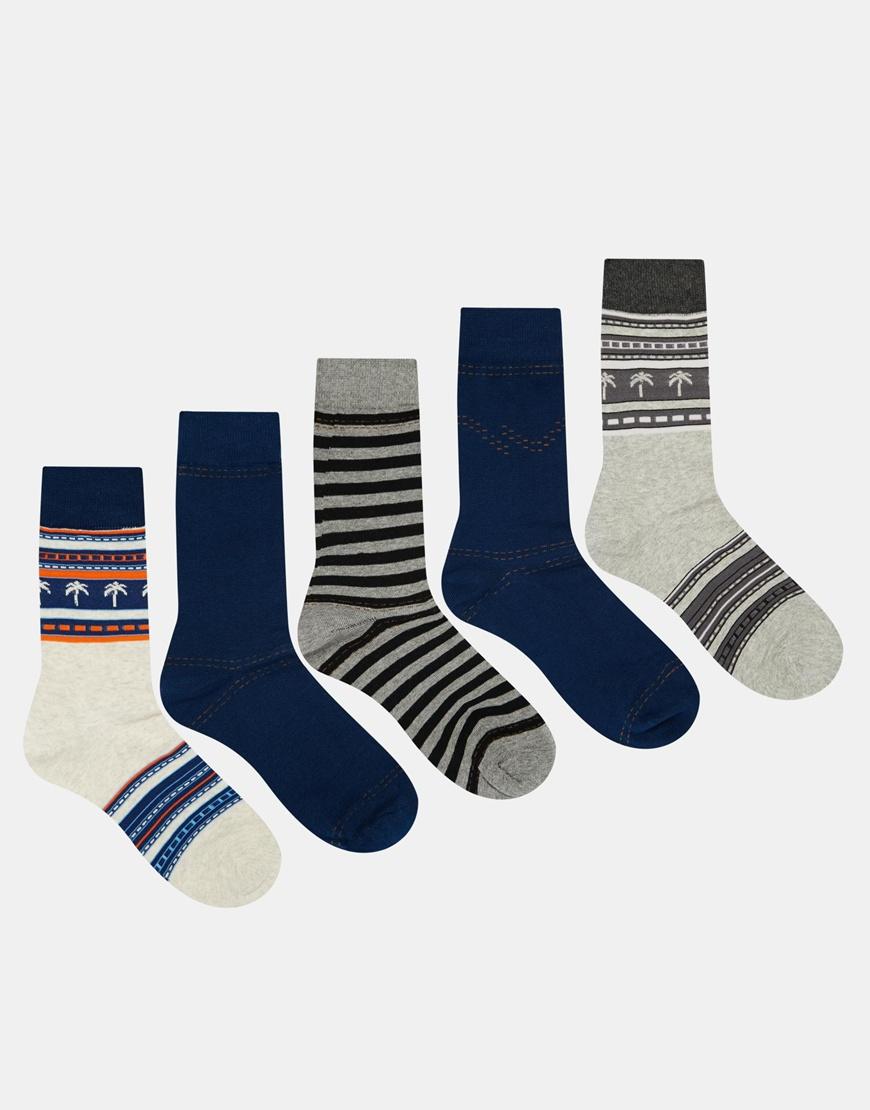 Jack & Jones Denim 5 Pack Socks,$18.50