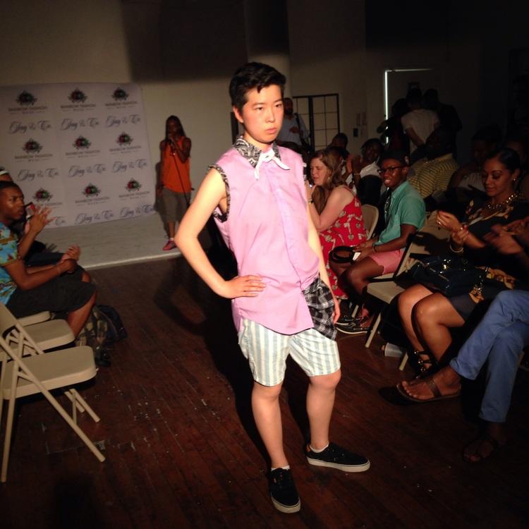 Irene Tu modeling shirt design by Courtney Stirn and  Topman Stripe Skinny Denim Shorts