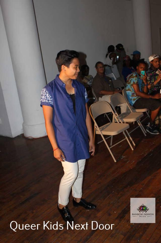 Erika Miguel modeling  Topman's Blue Paisley Sleeve Shirt