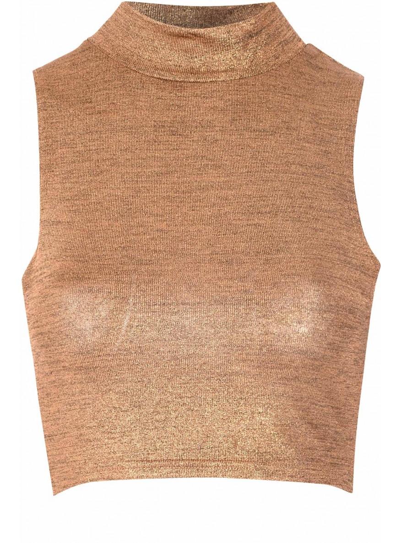 Gold Lurex Polo Neck Crop Top