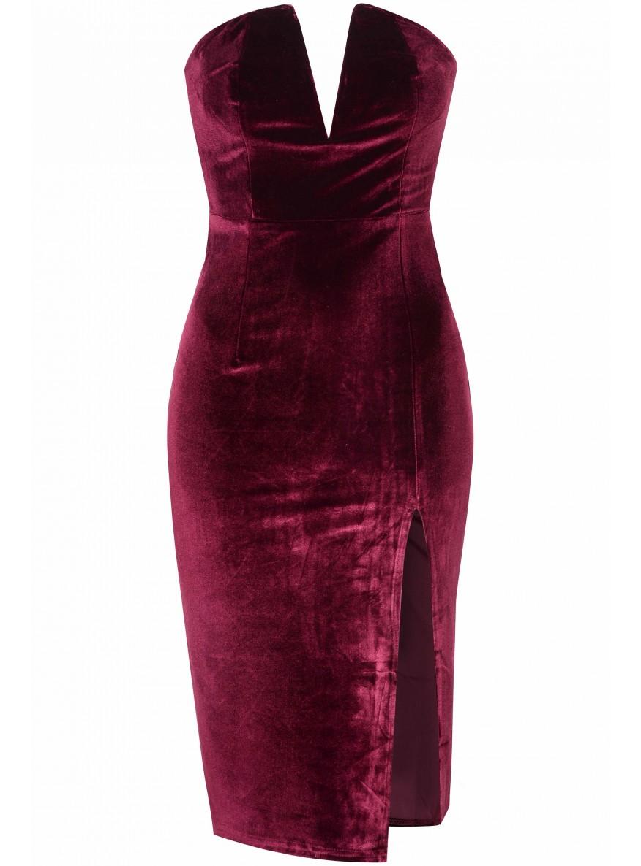Burgundy Velvet Bandaeu Bodycon Dress