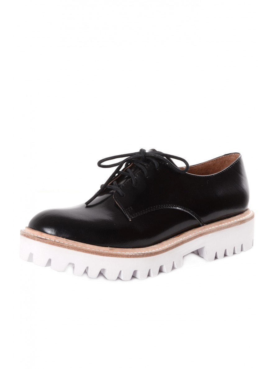 Jeffrey Campbell- PISTOL Black With Contrast White Treaded Sole Brogues