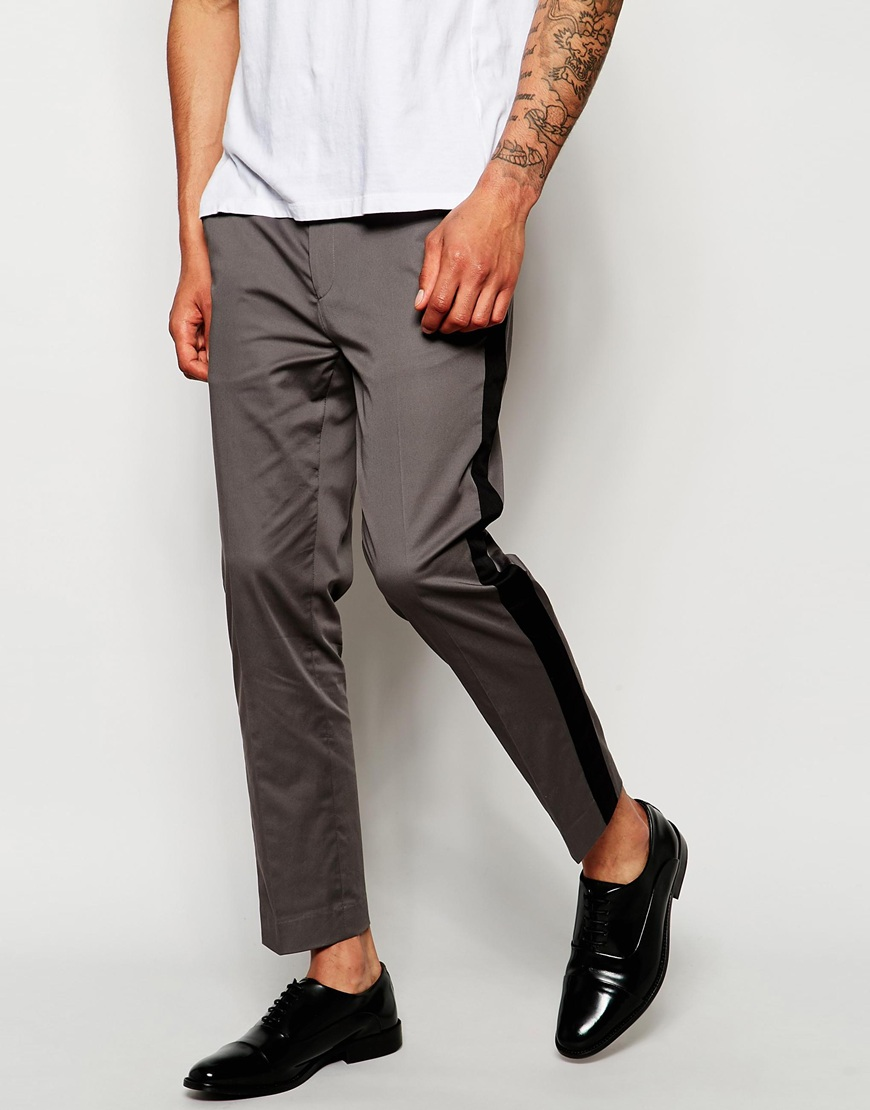 ASOS Skinny Cropped Smart Pants With Panel Details