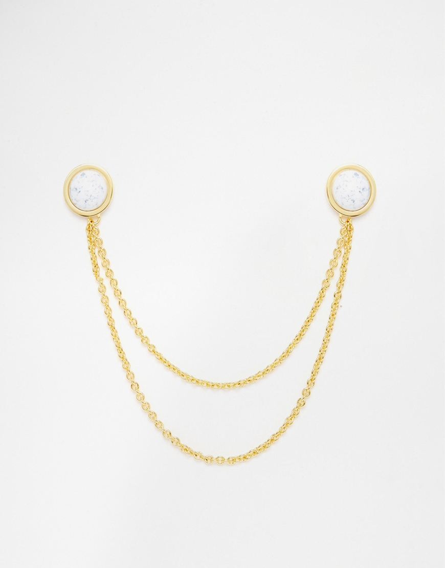 ASOS Collar Tips In Gold With Stone Effect