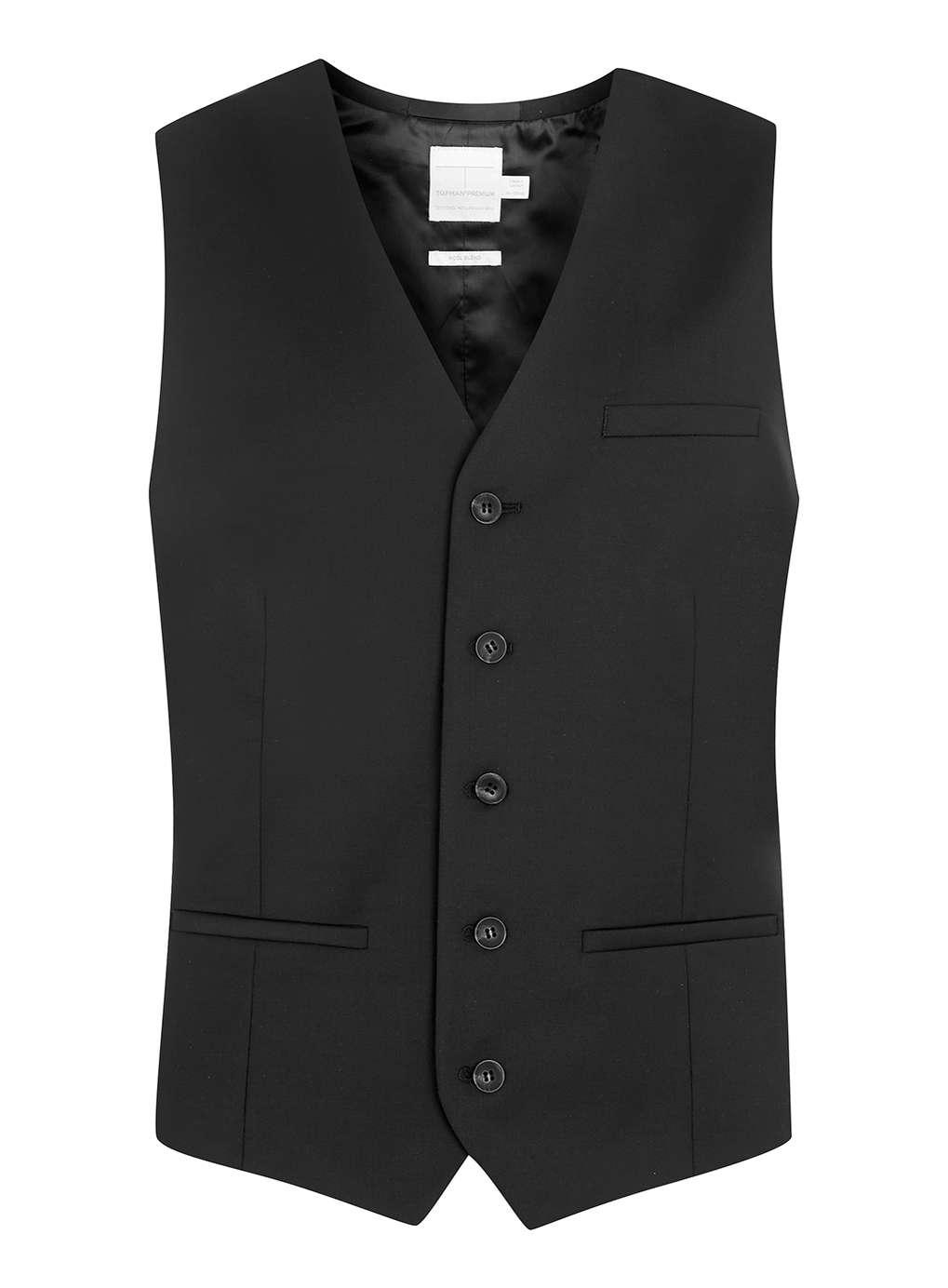 Black Premium Wool Blend Vest