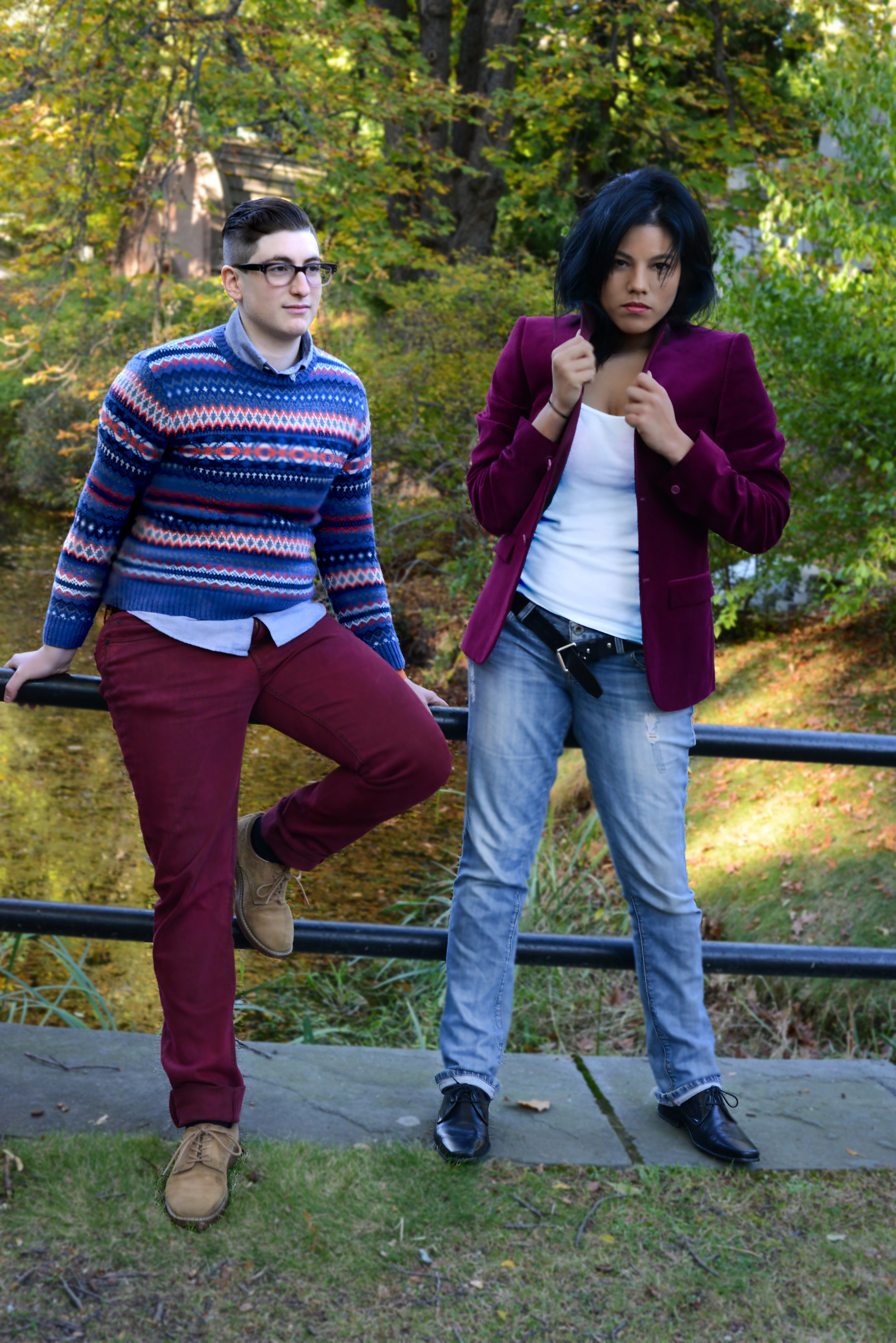 Ru (right) dressing up casual outfit with  Topman  velvet blazer. Photo by Sam Murray.