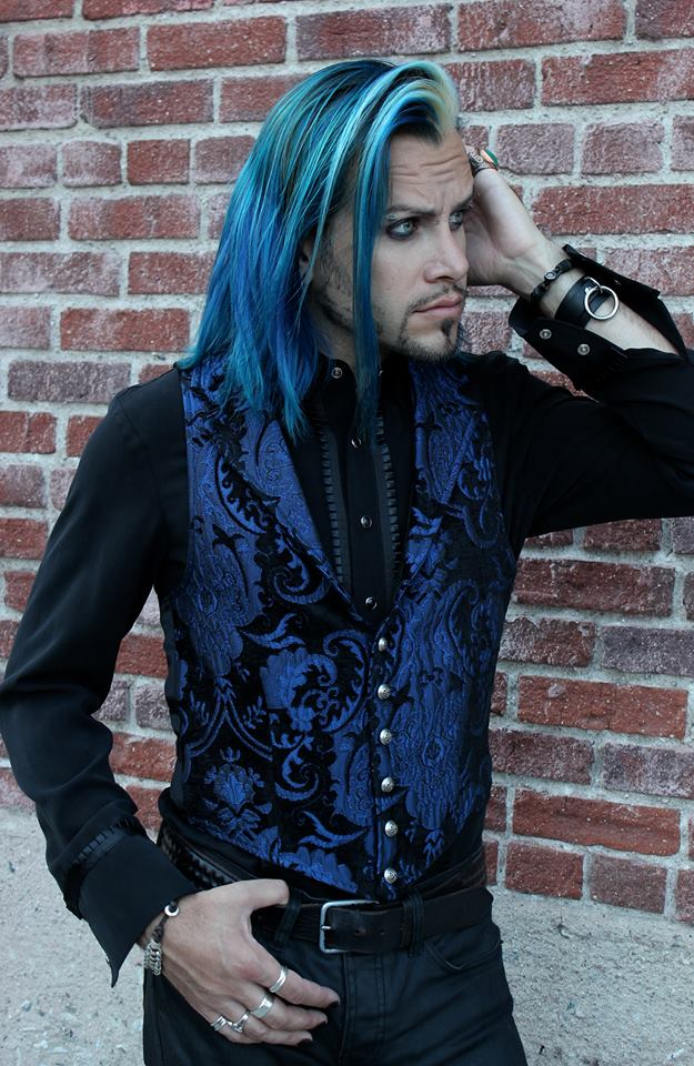 VICTORIAN ARISTOCRAT VEST - BLUE/BLACK TAPESTRY,   $105.00 at   shrinestore.com