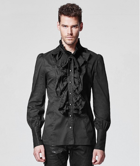 BLACK RUFFLES GOTHIC BLOUSE FOR MEN £69.70 at  www.devilnight.co.uk