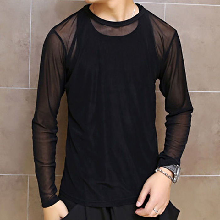 Men's Unique See Through Mesh T-Shirt Long Sleeve Casual Tee Cool Club Pub Tops  $8.19   at Ebay