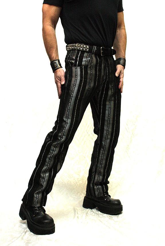 ICTORIAN STRIPED CARNY PANTS - SILVER/BLACK,$110.00 at  hshrinestore.com