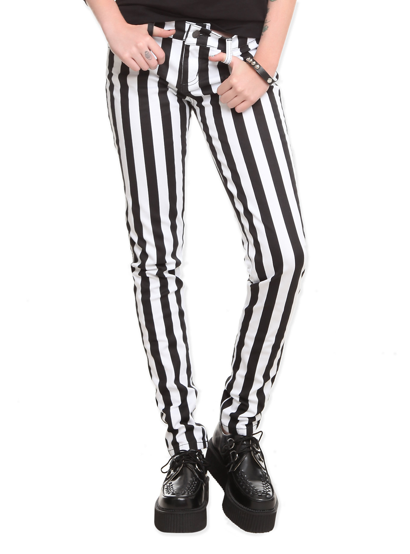Black and white skinny fit pants,   $31.60 at  Hot Topic