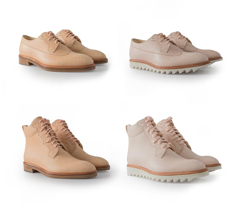 Clockwise from top left: Vegetable Tanned Longwing Brogue with stacked leather sole,Vegetable Tanned Longwing Brogue with Vibram sole, Vegetable Tanned Boot with Vibram sole,Vegetable Tanned Boot with stacked leather sole. Photo credit MATRIARCH