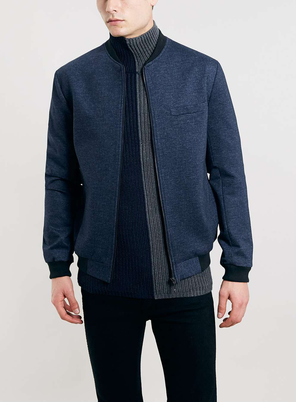 Navy Tailored Jersey Bomber Jacket