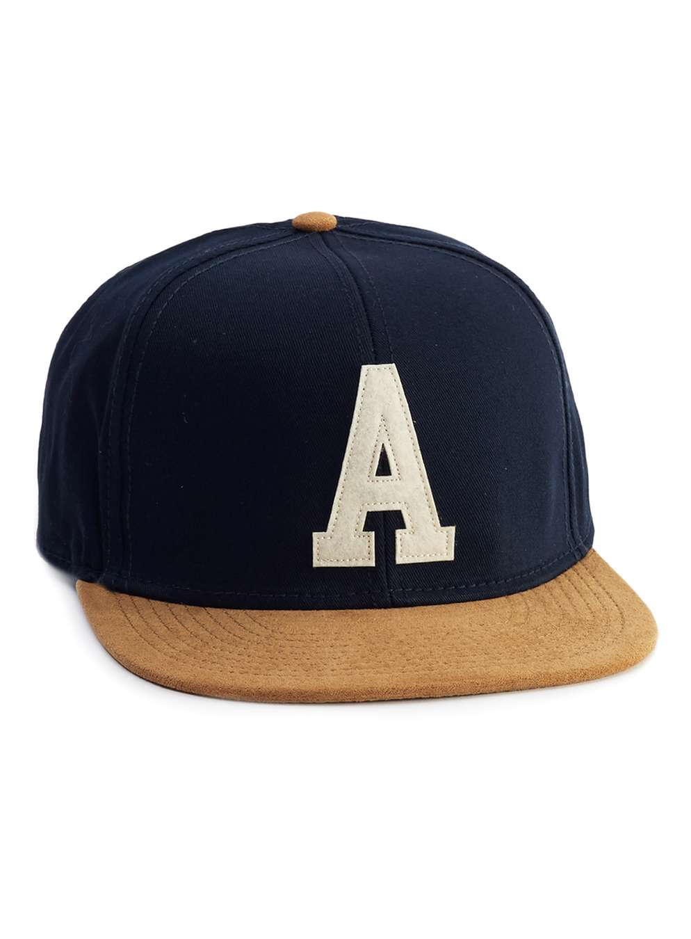 Navy And Tan Logo Snapback Cap