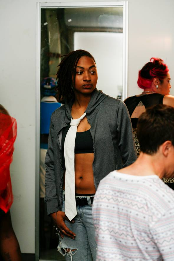 Model Alli in Rupi's hoodie tie design, premiered last year at Queer Fashion Week 2015, Oakland