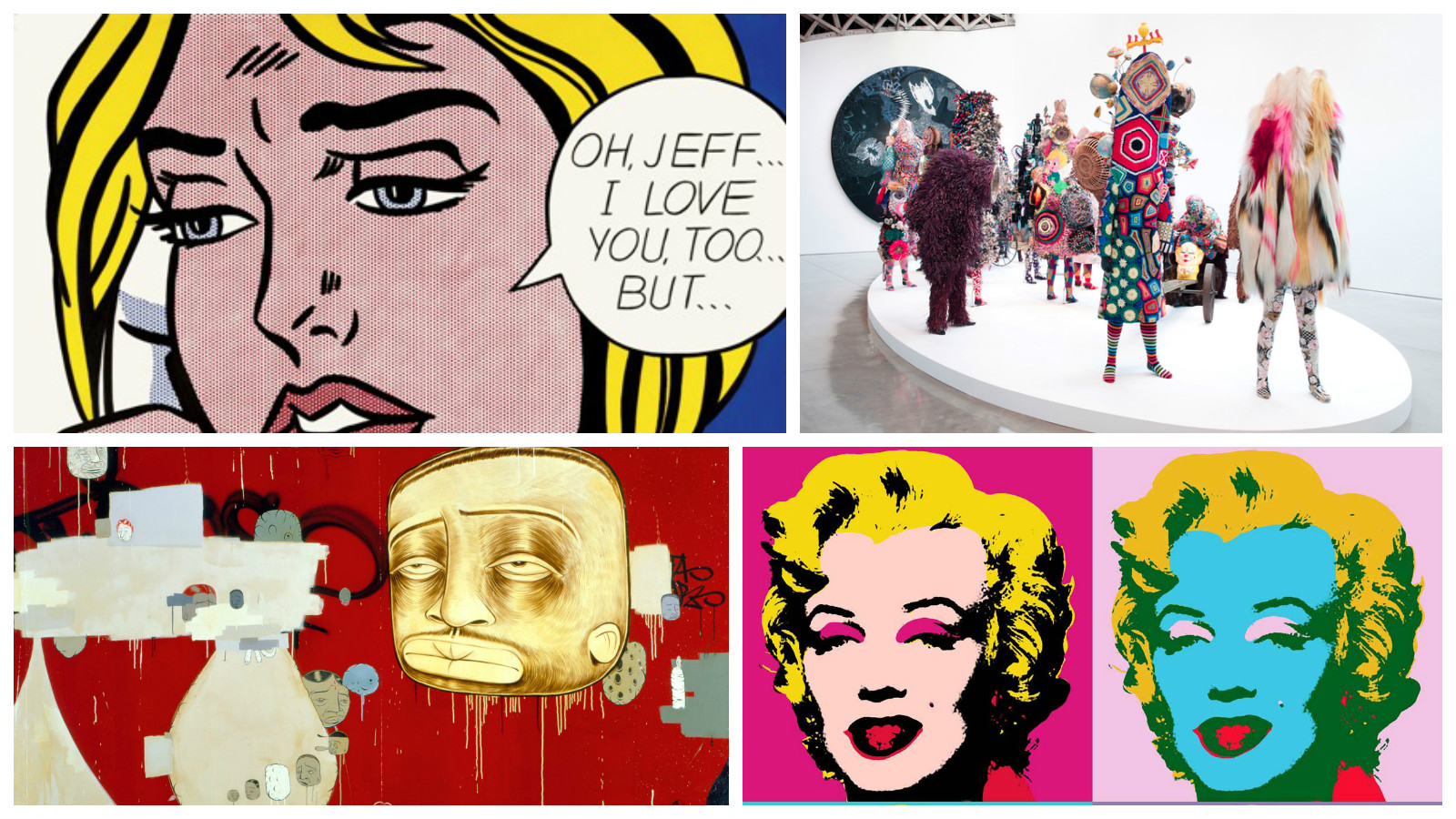 """From top left:  Roy Lichtenstein """"Oh, Jeff…I Love You, Too…But…"""" (1964)  /  Nick Cave  /  Barry McGee """"The Buddy System"""" (1999 ) /  Andy Warhol  Marylin Series (1967)"""