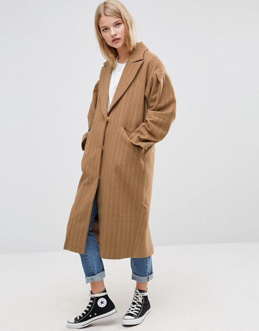 ASOS Coat with Statement Sleeve in Pinstripe - $136.00