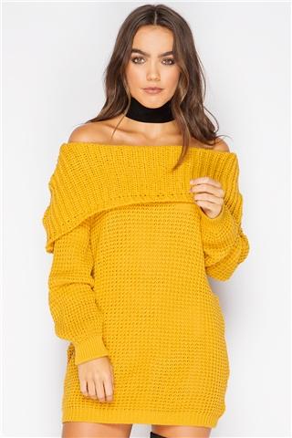 Syden Mustard Bardot Knit Jumper Dress- $30.99