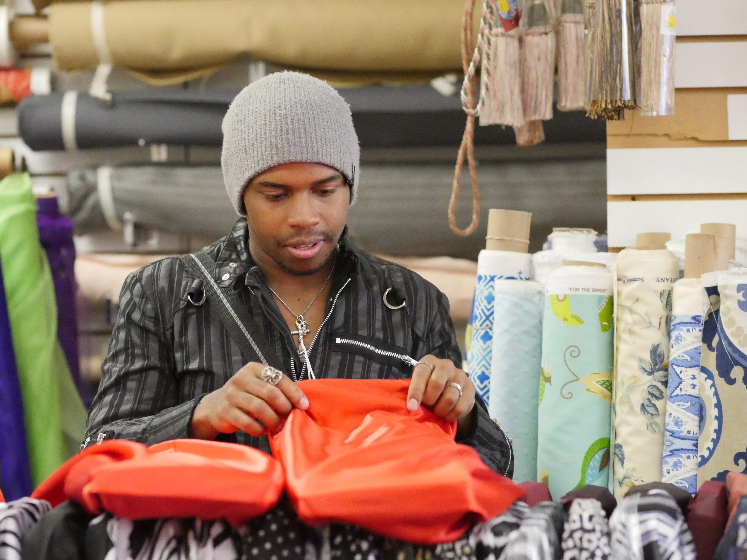 Fabric shopping. Photo by Anna Rae.