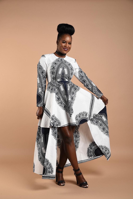 White Dashiki High -Low Dress - $159.00
