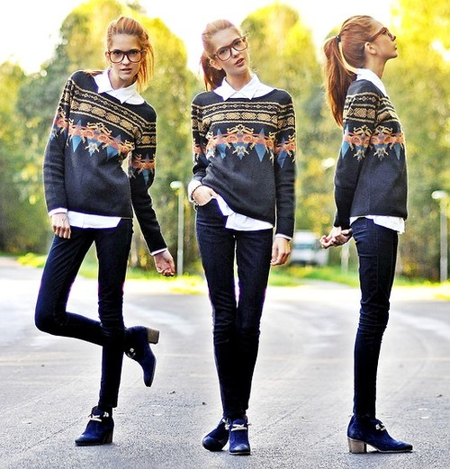 With skinny jeans.  (Source:  lookbook.nu )