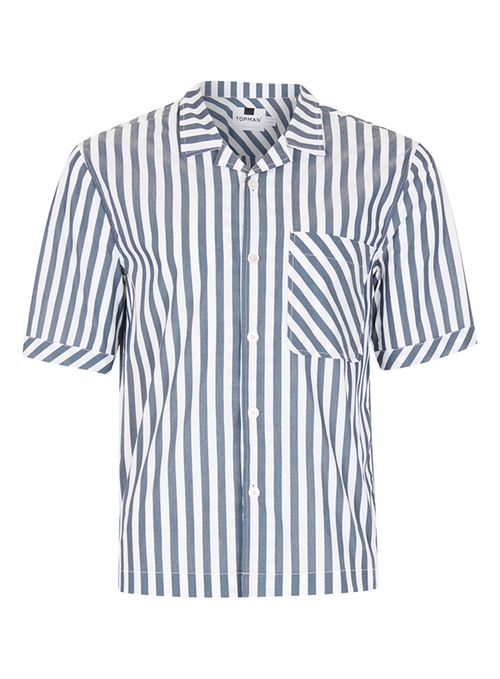 Grey And White Block Stripe Short Sleeve Casual Shirt