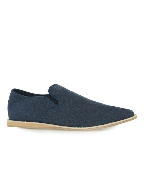 Navy Canvas Slip On Shoes $45.00