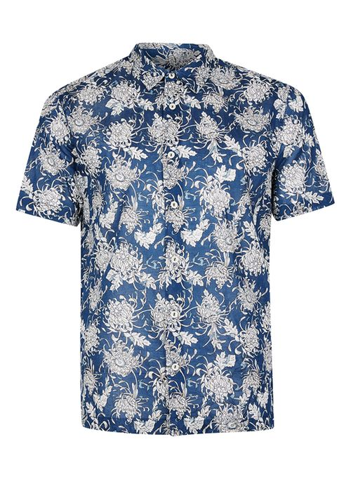 Blue Floral Print Short Sleeve Casual Shirt