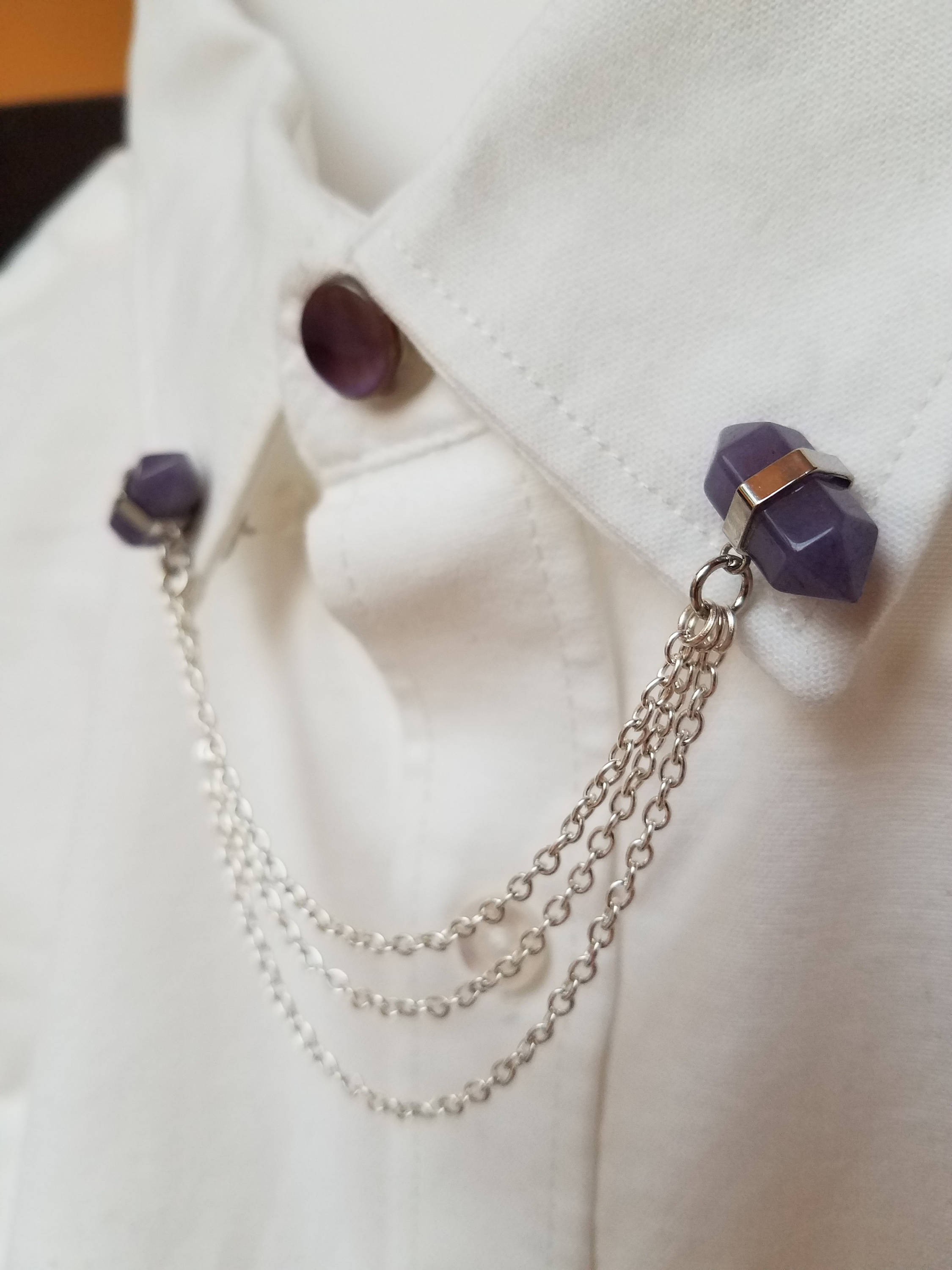 Double Pointed Amethyst Collar Pin Set, $25.00 at Field Hill on Etsy
