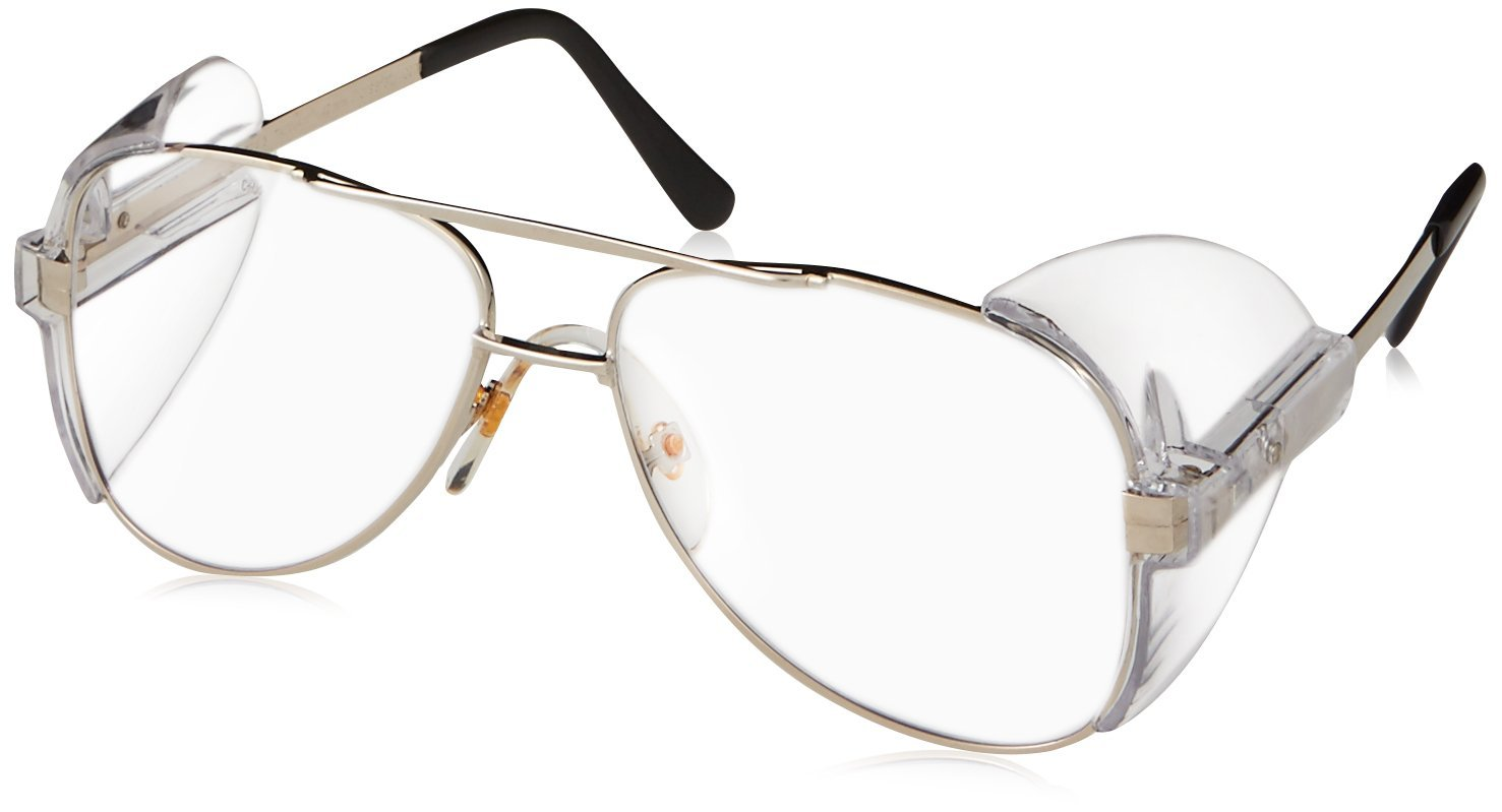 Crews 61110 Engineer Aviator Shape 58-mm Safety Glasses with Gold Frame and Clear Lens, $4.58