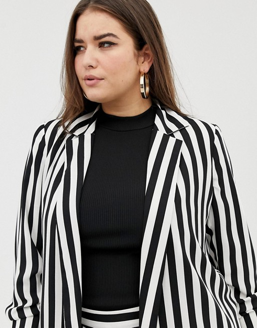 ASOS DESIGN Curve relaxed suit blazer in bold mono stripe