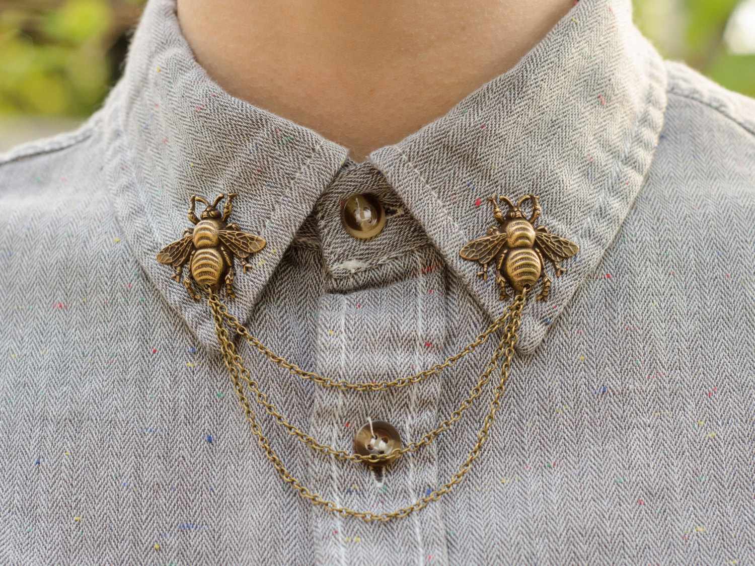 Dapper and Swag Bronze Bee Collar Chain/ Cardigan Clip