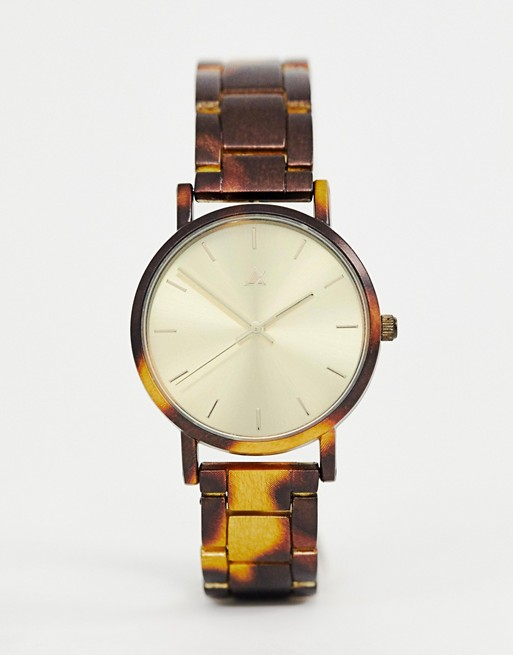 ASOS DESIGN watch with tortoiseshell printed metal strap