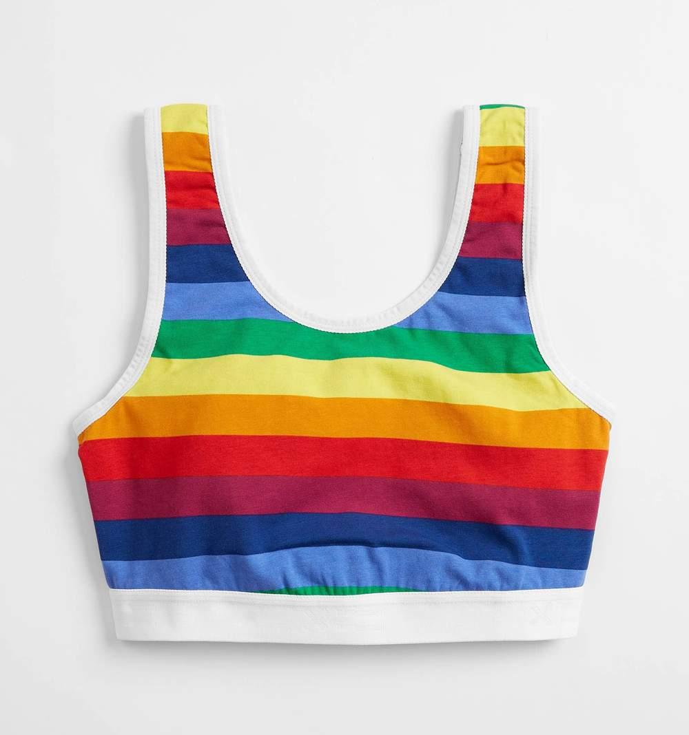 Essentials Soft Bra in Rainbow Stripes $35