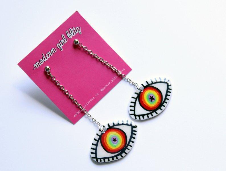 Rainbow Star Eye Dangle Earrings
