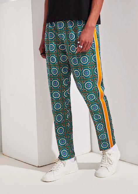 Contrast Side Striped Tribal Print Pants