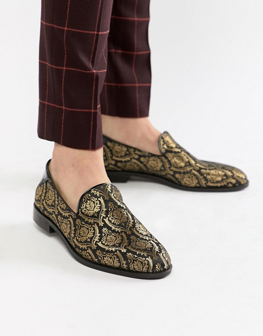 House Of Hounds Hawk loafers in black brocade