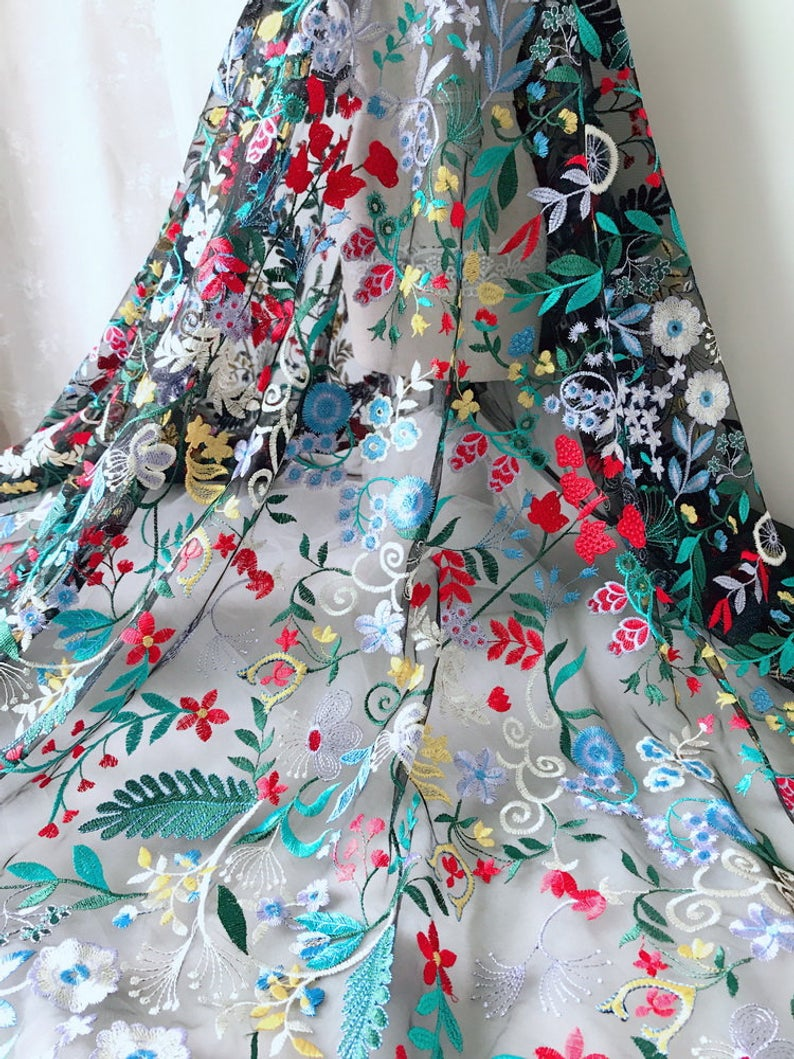 Vintage Multicolor Floral Embroidery Lace Fabric on Black Tulle Fabric