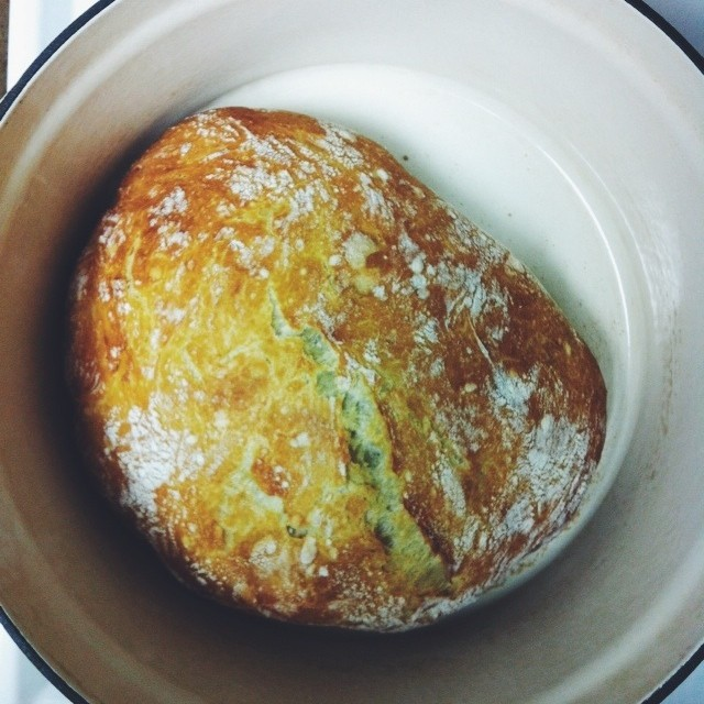 no knead bread, fresh from the oven.